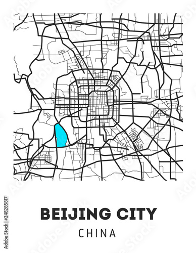 Fotografie, Obraz Area map of Beijing, China. Beijing city street map