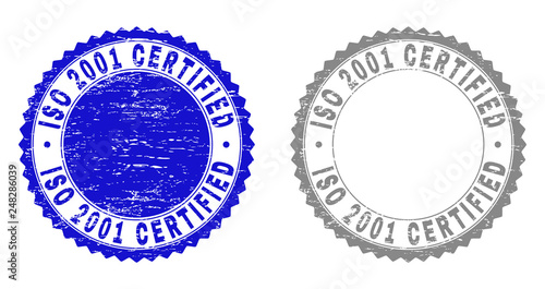Tela  Grunge ISO 2001 CERTIFIED stamp seals isolated on a white background