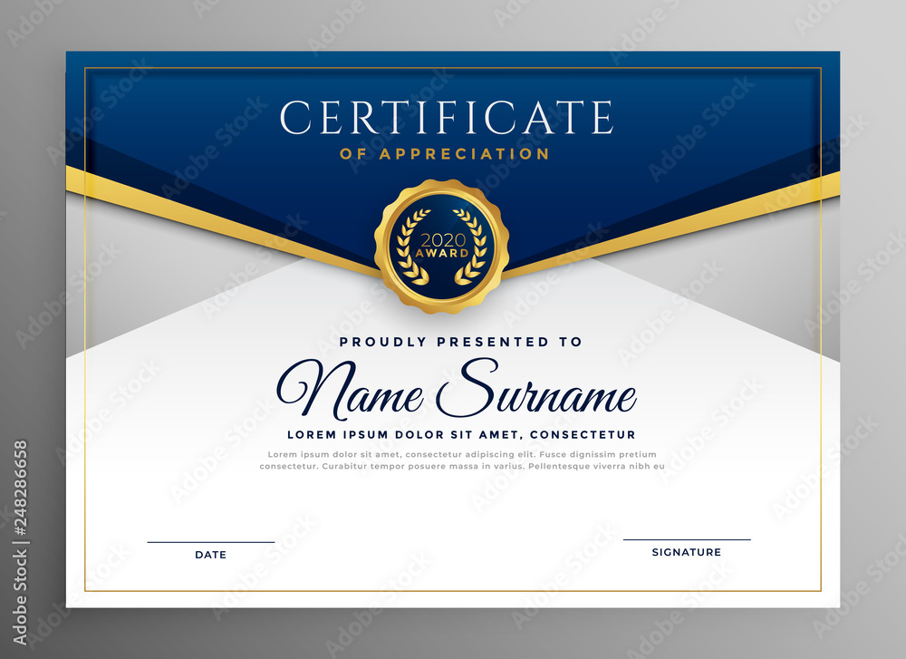 Fototapety, obrazy: elegant blue and gold diploma certificate template