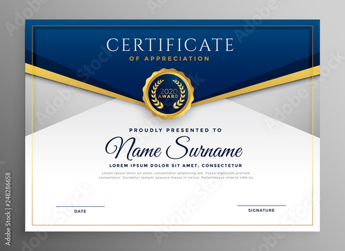 Stampa su Tela  elegant blue and gold diploma certificate template