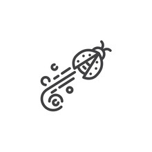 Flying Ladybug Line Icon. Linear Style Sign For Mobile Concept And Web Design. Ladybird Fly Outline Vector Icon. Symbol, Logo Illustration. Pixel Perfect Vector Graphics
