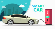 Mock Up Popular Car. Station Fast Charging Electro Car. Concept Eco Car On The Background Of Trees And City, Can Use For Landing Page, Template, Ui, Web, Mobile App, Poster, Banner, Flyer - Vector