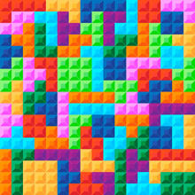 Old Video Game Square Template. Brick Pieces Game Background. Vector Illustration.