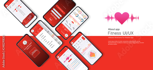Obraz  Different UI, UX, GUI screens fitness app and flat web icons for mobile apps, responsive website including. Web design and mobile template. Red trends design. Fitness Dashboard - stock vector - fototapety do salonu