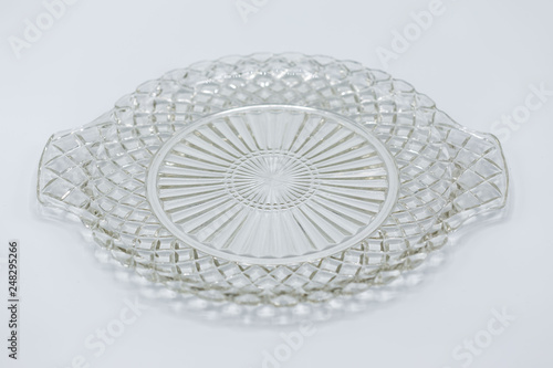 Fotografie, Obraz  medium size clear aerving plate with an intricate design