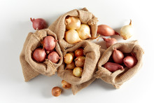 Burlap Sack Bags With Onions