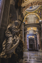 Vatican - 18 JANUARY 2019: Interior View Of The Saint Peters Basilica On The Saint Peters Square In Vatican City In Rome
