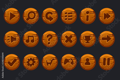 Vector game ui kit  Set of cartoon wooden circles buttons