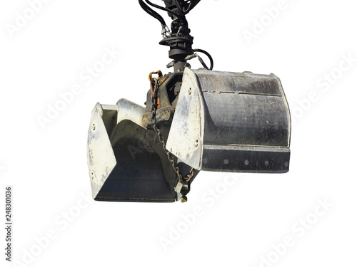 Fotografering  Clamshell bucket isolated on white background. Greifer
