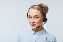 Happy Smiling Cheerful Support Phone Operator Portrait In Headset