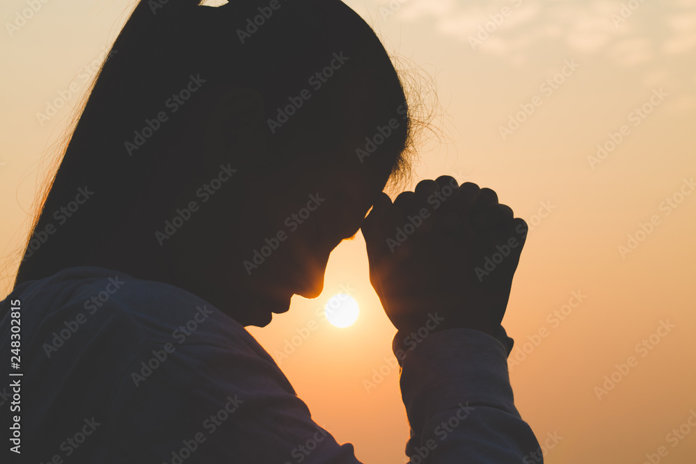 Fototapety, obrazy: Young woman praying in the morning, Hands folded in prayer concept for faith, spirituality and religion