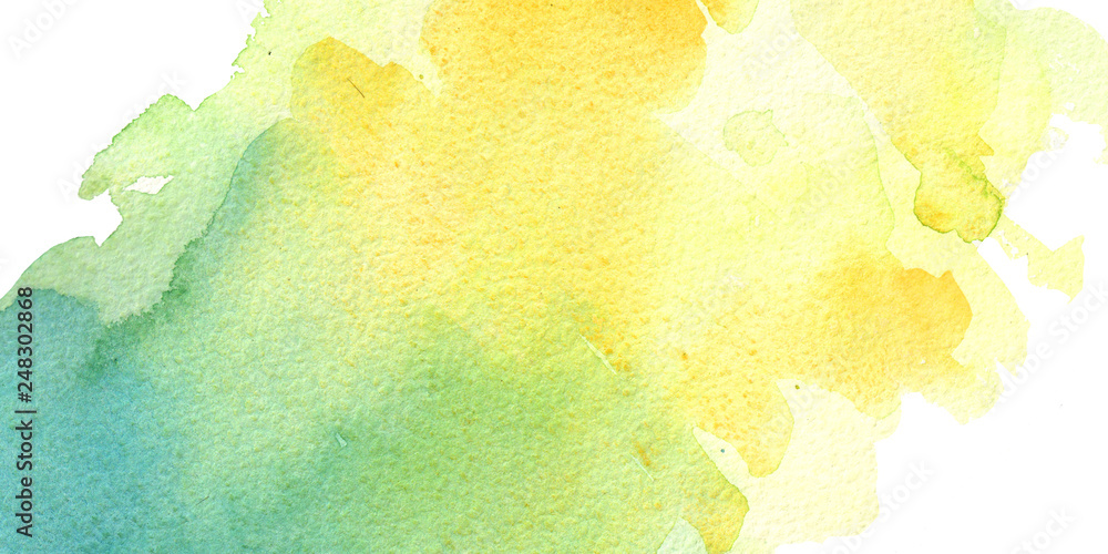 Fototapety, obrazy: watercolor hand painted yellow and turquoise watercolor background bisness card
