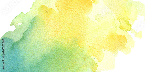 Fényképezés watercolor hand painted yellow and turquoise watercolor background bisness card