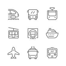 Set Line Icons Of Public Trans...