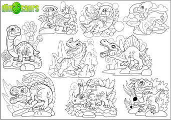 cute cartoon prehistoric dinosaurs, set of images coloring book