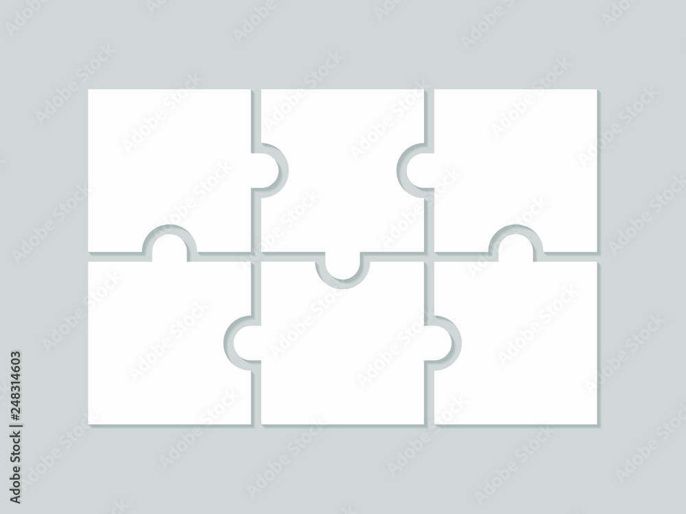 Fototapeta Six blank puzzle pieces. Puzzle for web, information or presentation design, infographics. White puzzle on gray background. Vector illustration