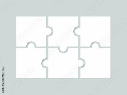 Obraz Six blank puzzle pieces. Puzzle for web, information or presentation design, infographics. White puzzle on gray background. Vector illustration - fototapety do salonu