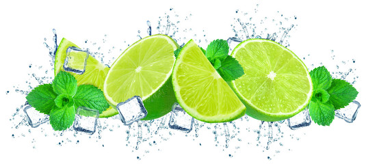 lime splash water and ice i...