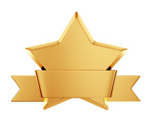 Gold Star Award With Shiny Ribbon With Space For Your Text