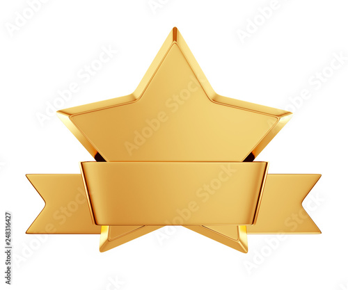 Fotografía  gold star award with shiny ribbon with space for your text