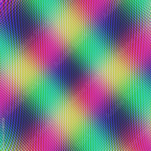 Fotografie, Obraz  Crosshatch Tartan / An abstract fractal image with a crosshatch design in pink, yellow, green and blue