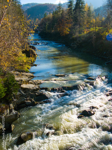 Mountain River On A Bright Sunny Day Landscape Mountain Woodland Design For Poster Wallpaper Background Image Buy This Stock Photo And Explore Similar Images At Adobe Stock Adobe Stock