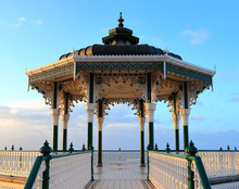 Brighton Bandstand Pavilion On A Quiet Morning, Sunlit By The Winter Sun In February. Victorian Landmark Located On The Seafront, Brighton And Hove, East Sussex, England, United Kingdom.