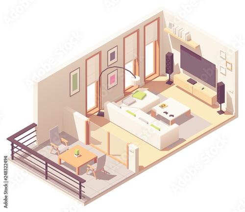 Fényképezés  Vector isometric living room with balcony