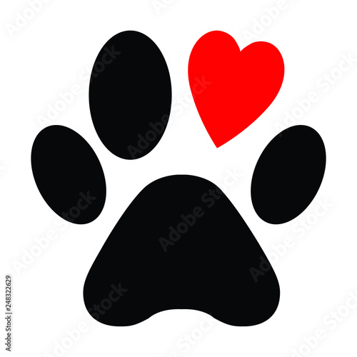 Foto Animal love symbol paw print with heart, isolated vector