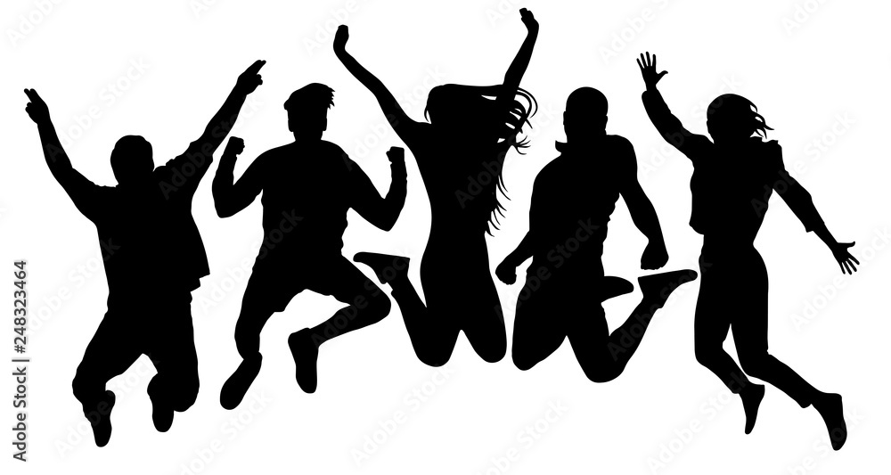 Fototapeta People jump vector silhouette. Jumping friends youth background. Crowd people, close to each other. Cheerful man and woman isolated