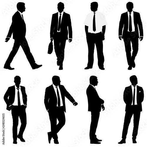 Obraz Set silhouette businessman man in suit with tie on a white background - fototapety do salonu