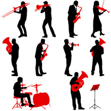 Set Silhouette Of Musician Playing The Trombone, Drummer, Tuba, Trumpet, Saxophone, On A White Background