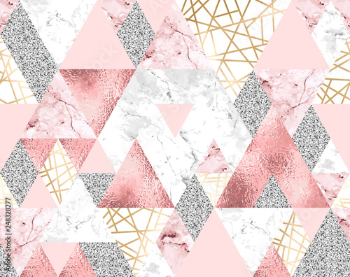 geometryczny-wzor-ze-zlotymi-metalicznymi-liniami-srebrnym-brokatem-rozowymi-i-marmurowymi-trojkatami
