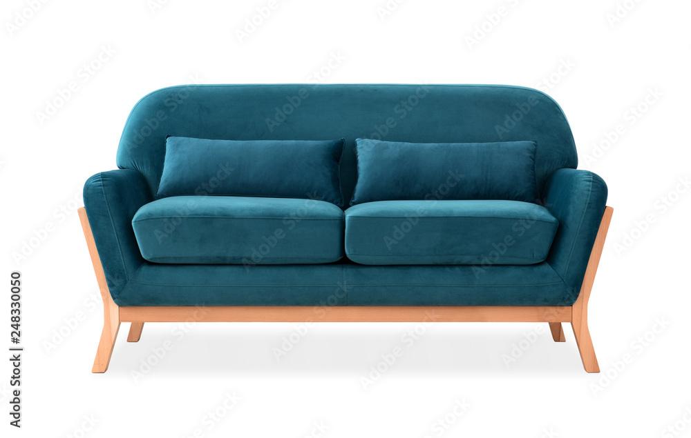 Fototapety, obrazy: Sofa from blue velor in Scandinavian style