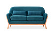 Sofa from blue velor in Scandinavian style