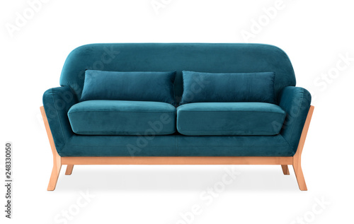 Photo  Sofa from blue velor in Scandinavian style