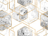 Seamless geometric pattern with gold glitter lines and marble polygons - 248330685