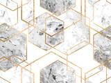 Geometryczny wzór z złote linie brokatu i marmurowe wielokąty - 248330685