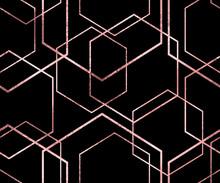 Seamless Geometric Rose Gold Glitter Polygons Pattern. Metallic Pink Hexagon Abstract Background