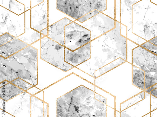 Fototapeta Seamless geometric pattern with gold glitter lines and marble polygons
