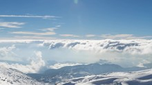 Clouds Motion Over Mount Hermon,  Winter In Israel - Sunny Day At Mount Hermon, Time Lapse Zoom Out