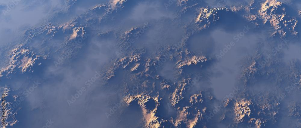 Fototapeta Aerial of rough rocky terrain in mist.