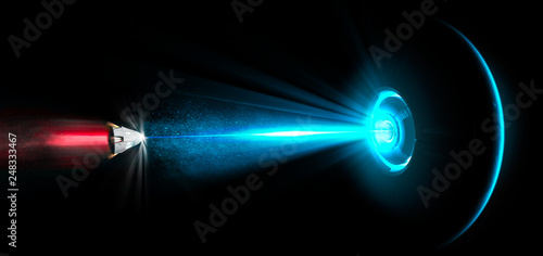 Fotografia  Spaceship, UFO, tractor beam