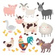 Farm animals. Pig donkey cow sheep goose rooster dog cartoon kids animal vector isolated set