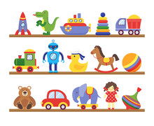Toys On Shelves. Cartoon Toy On Baby Shopping Wooden Shelf. Dinosaur Robot Car Doll Isolated Vector Set