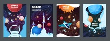 Cartoon Space Banners. Galaxy ...