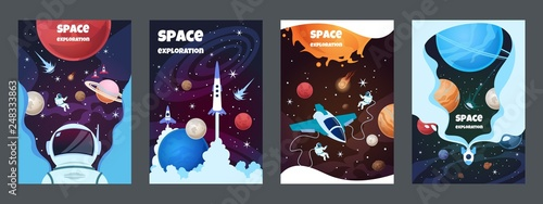 Cartoon space banners Fotobehang