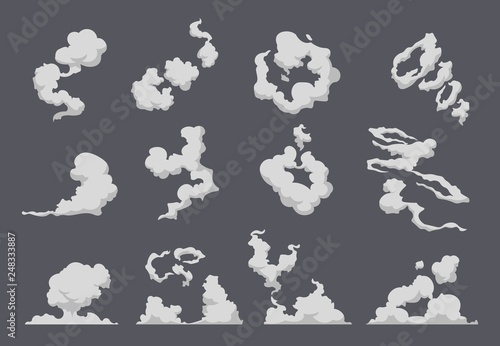 Foto op Aluminium Cartoon cars Cartoon smoke cloud. Comic steam explosion dust fight animation fog movement smog motion game smoke. Vector gas blast set