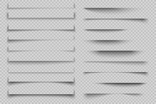 Paper Shadow Effect. Transparent Realistic Page Shadows With Corners, Banner Poster Flyer Shadows With Corners. Vector Design Template