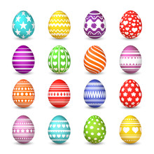 Easter Eggs Collection. Christian Resurrection Tradition Happy Easter Celebration Egg With Colorful Pattern Vector Isolated Set